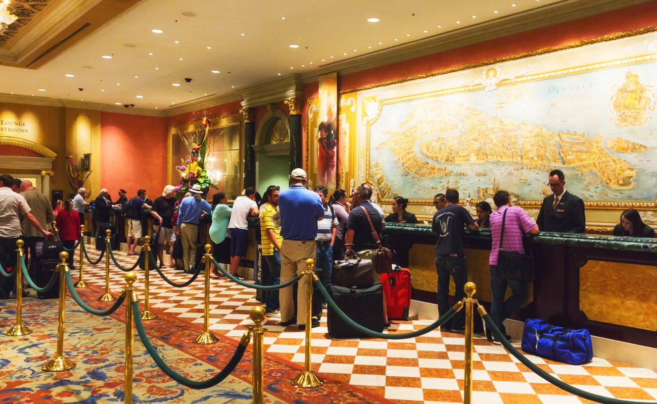 LAS VEGAS NV USA - JULY 13 2013: People checking in at The Venetian Grand Casino Hotel.